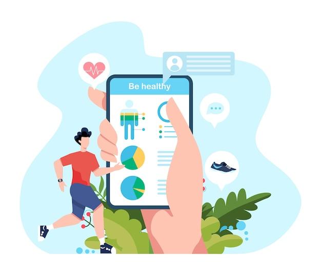 Fitness-lauf- oder jogging-konzept. idee eines gesunden und aktiven lebens. immunverbesserung und muskelaufbau. illustration Premium Vektoren
