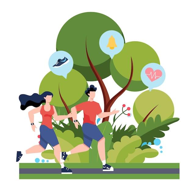Fitness-lauf- oder jogging-konzept. idee eines gesunden und aktiven lebens. Premium Vektoren