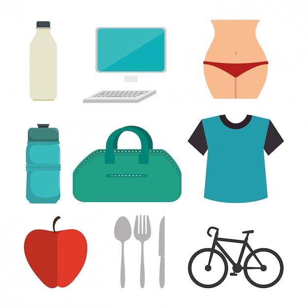 Fitness-lifestyle-design Premium Vektoren