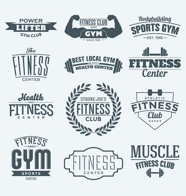 Fitness logo sammlung Kostenlosen Vektoren