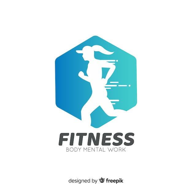 Fitness logo vorlage flachen stil Kostenlosen Vektoren