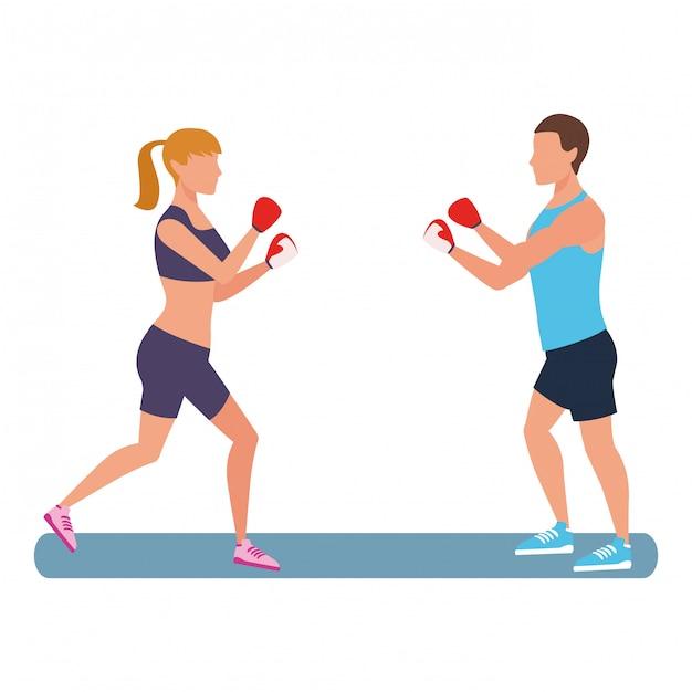 Fitness menschen training Premium Vektoren