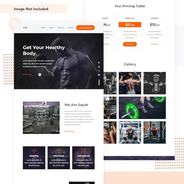 Fitness mini landing webseite Premium Vektoren