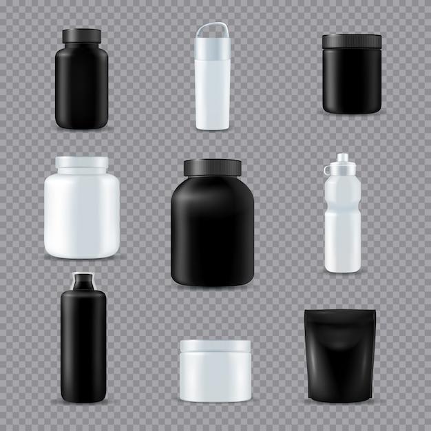 Fitness sport flaschen realistisch transparent Kostenlosen Vektoren