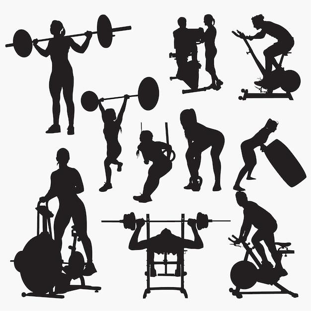 Fitness-studio-silhouetten Premium Vektoren