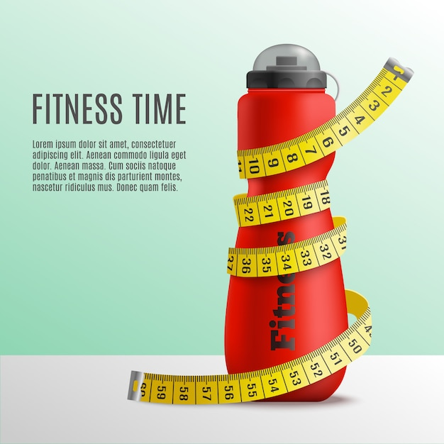 Fitness time bottle konzept Kostenlosen Vektoren