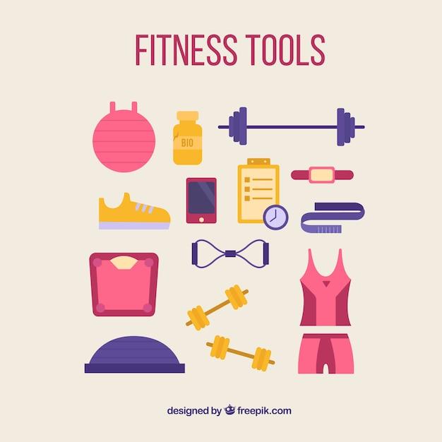 Fitness-tools für frauen pack Kostenlosen Vektoren