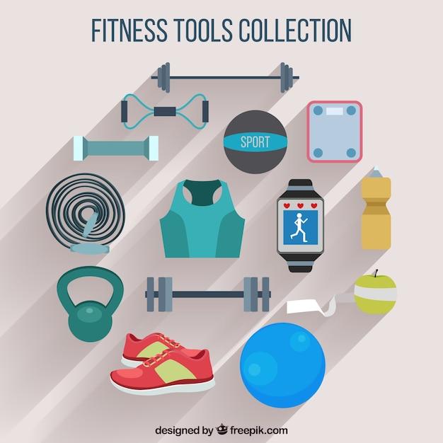 Fitness-tools sammlung Premium Vektoren