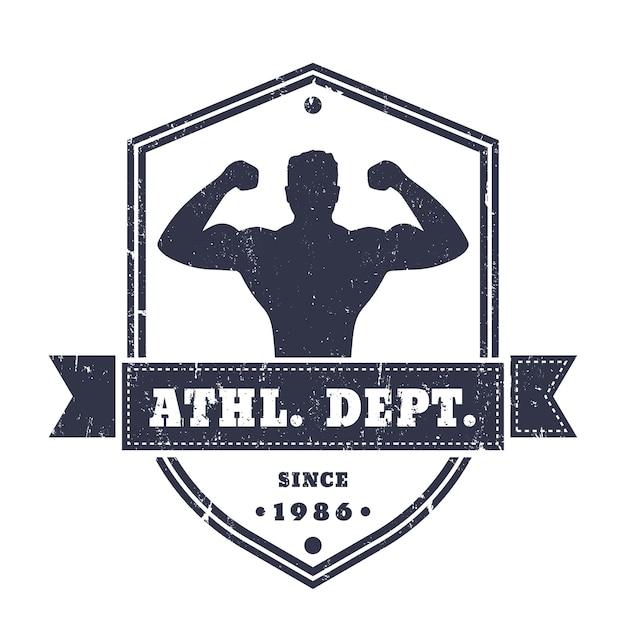 Fitness, turnhalle vintage logo, abzeichen, emblem mit posierenden athleten auf schildform, isoliert auf weiß, textur kann entfernt werden, illustration Premium Vektoren