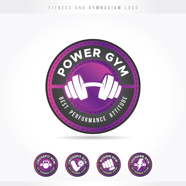 Fitness und fitnessstudio pink logo Premium Vektoren