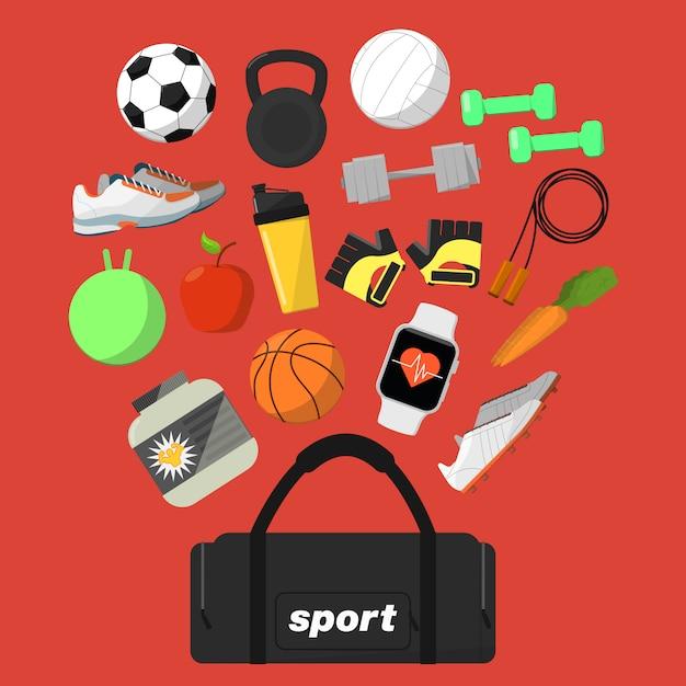 Fitness und gesunde lebensweise hintergrund Premium Vektoren