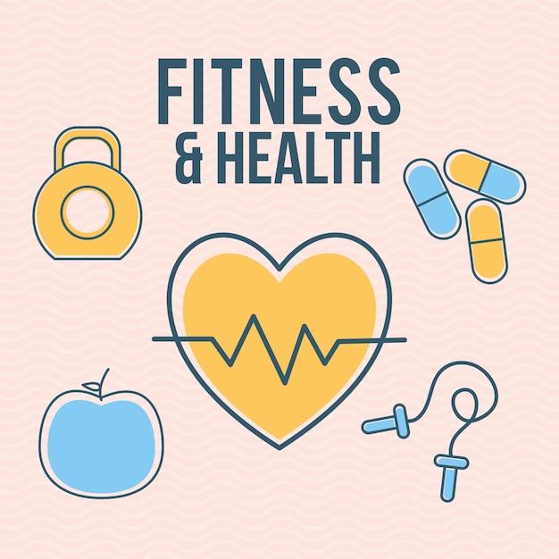 Fitness- und gesundheitsbeschriftung mit satz von fitness- und gesundheitssymbolen Premium Vektoren