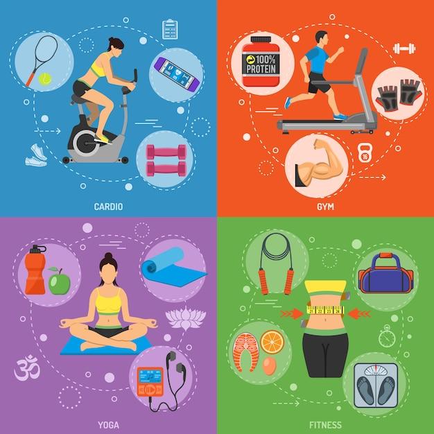 Fitness und gym banner Premium Vektoren