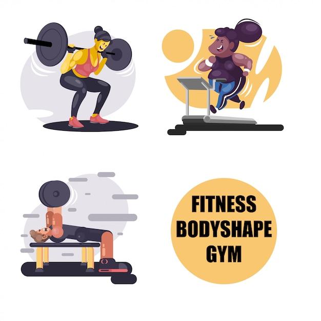 Fitness und gym illustrationen Premium Vektoren