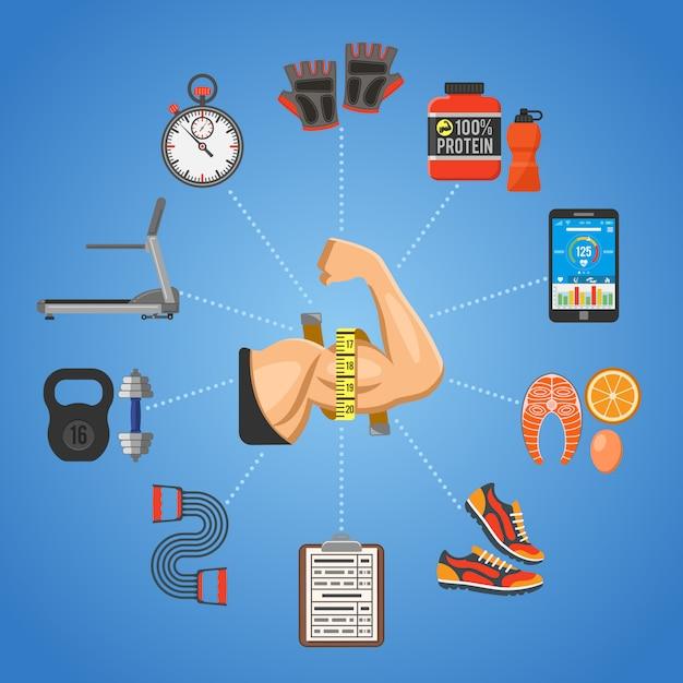 Fitness und gym konzept Premium Vektoren