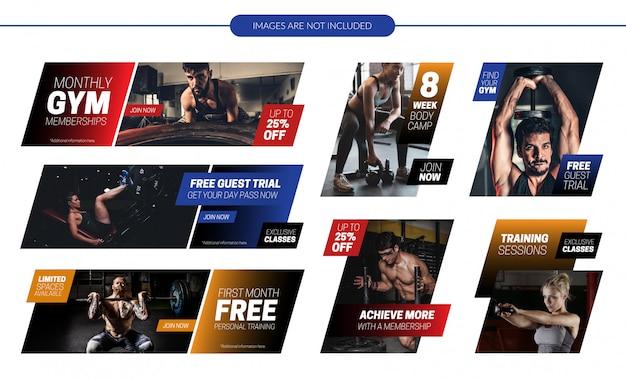 Fitness-website werbeartikel banner set Premium Vektoren