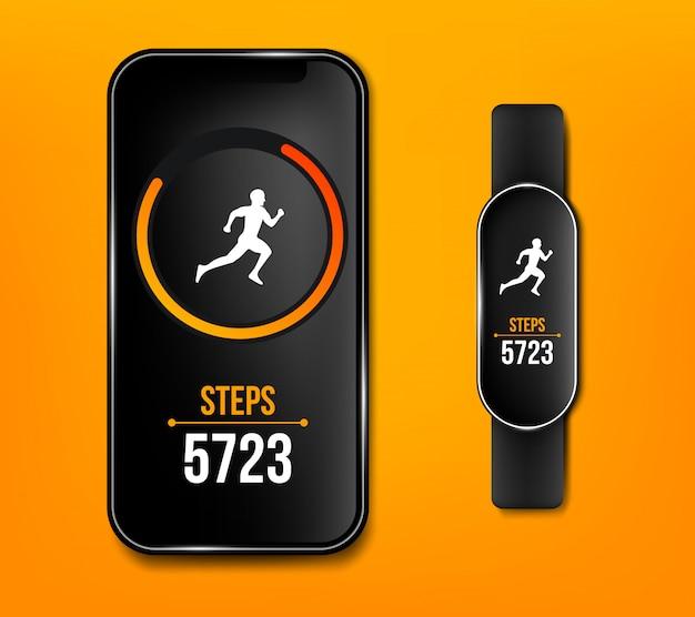 Fitness zähler telefon laufen app Premium Vektoren