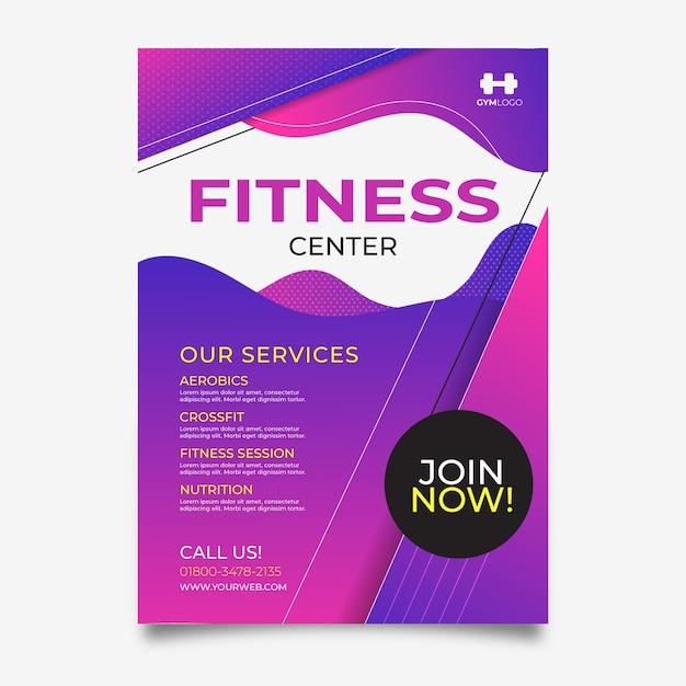 Fitnesscenter im sportplakatstil Kostenlosen Vektoren