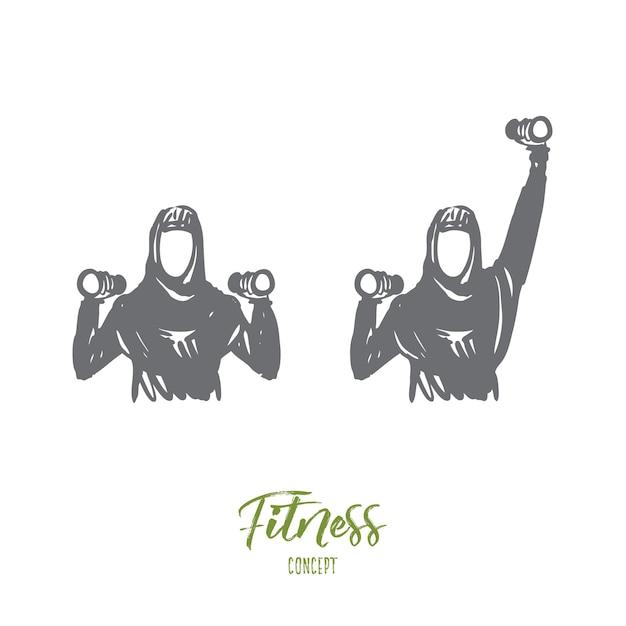 Fitnessillustration in der hand gezeichnet Premium Vektoren