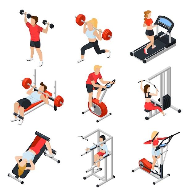 Fitnessstudio isometrische set Kostenlosen Vektoren