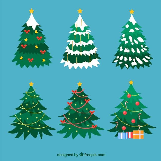 Flach dekorierte weihnachtsbäume Kostenlosen Vektoren