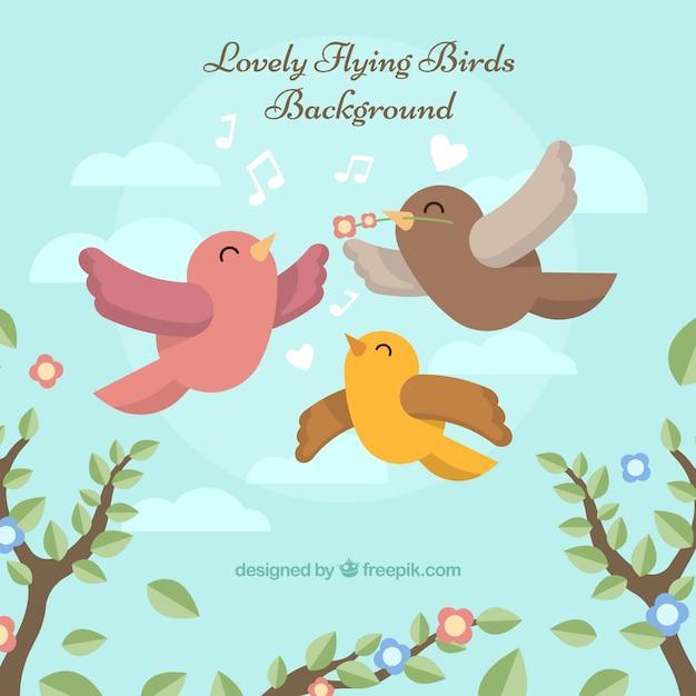 Flach fliegender vogel hintergrund Kostenlosen Vektoren