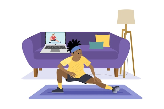 Flach gezeichnete online-sportklassen Kostenlosen Vektoren