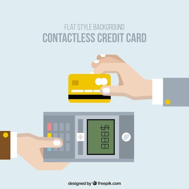 Flach hintergrund der zahlung mit kreditkarte kontaktlos Kostenlosen Vektoren