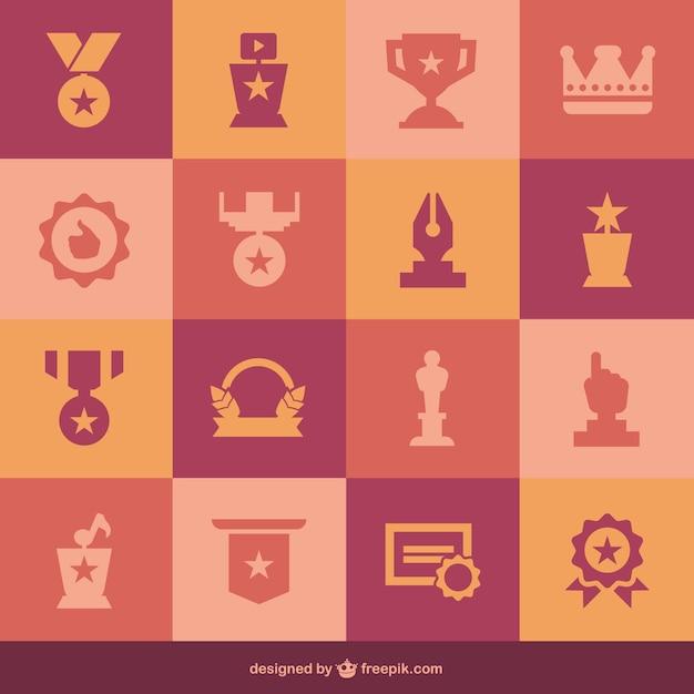 Flach medaillen set von icons Kostenlosen Vektoren