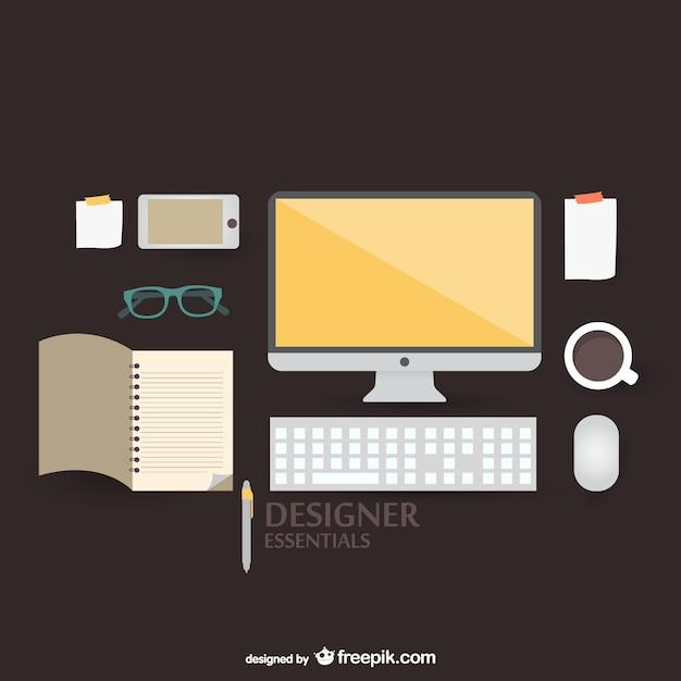 Flach vektor-illustration designer-kit-konzept Kostenlosen Vektoren