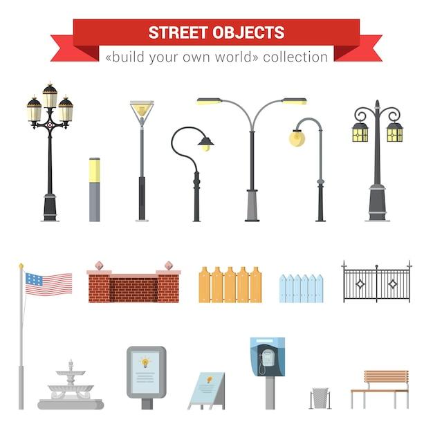 Flache 3d hohe stadtstadt städtische objekte ikonensatz. straßenlaternen, stadtlicht, zaun, usa-flagge, brunnen, schild, straßentelefon, bank. erstellen sie ihre eigene world web infographics-sammlung. Kostenlosen Vektoren
