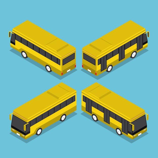 Flache 3d isometrische öffentliche verkehrsbus-dienst Premium Vektoren