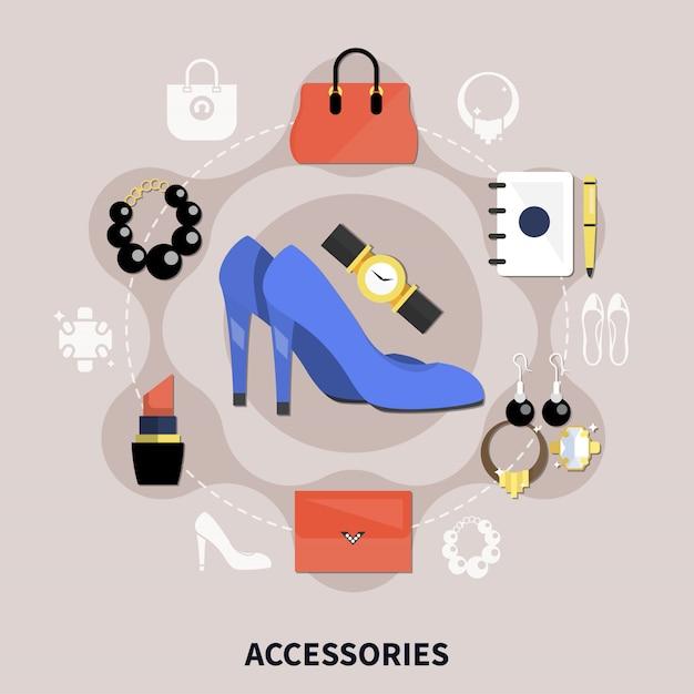 Flache accessoires-kollektion Kostenlosen Vektoren
