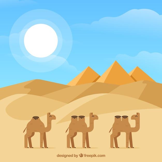 Flache ägypten-pyramiden gestalten mit kamelwohnwagen landschaftlich Kostenlosen Vektoren