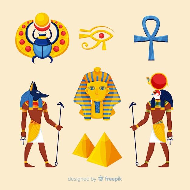 Flache ägyptische symbole und götter sammlung Kostenlosen Vektoren