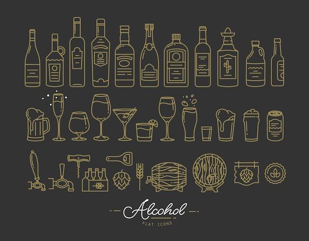 Flache alkoholikonen gold Premium Vektoren