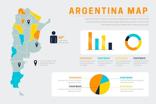 Flache argentinien karte infografik Kostenlosen Vektoren