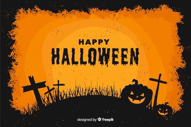 Flache art dekorativen halloween-hintergrundes Kostenlosen Vektoren