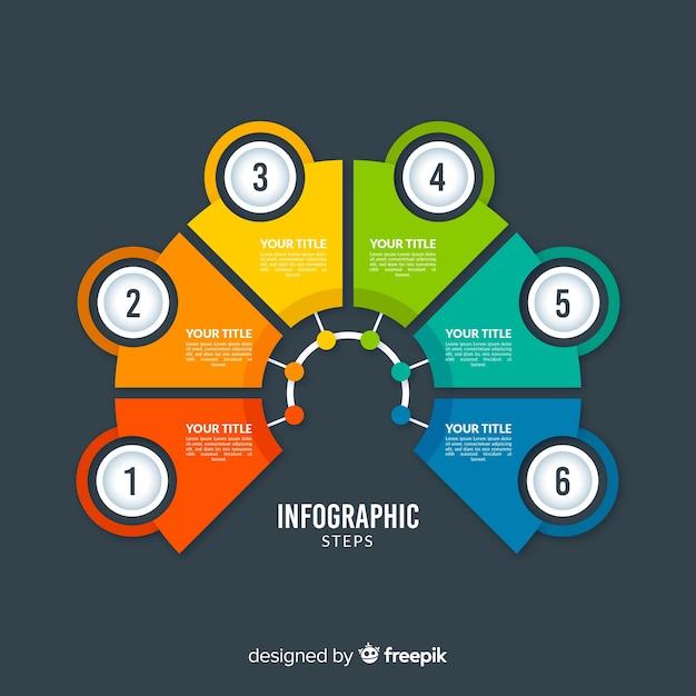 Flache art der bunten infographic schrittschablone Kostenlosen Vektoren