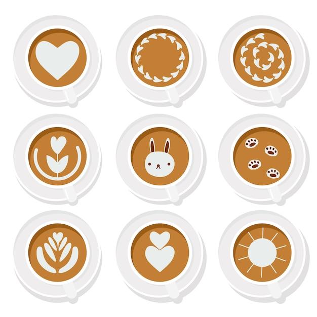 Flache art der grundlegenden sammlung der kaffee latte-kunst Premium Vektoren