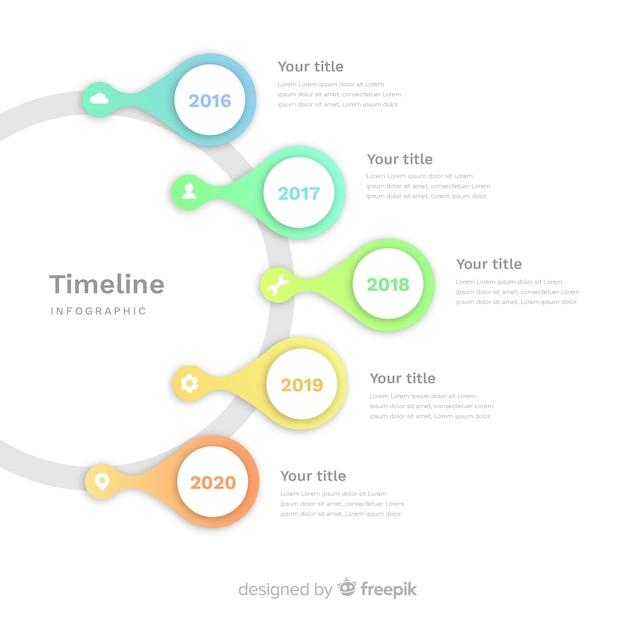 Flache art der infographic schablone der zeitachse Kostenlosen Vektoren