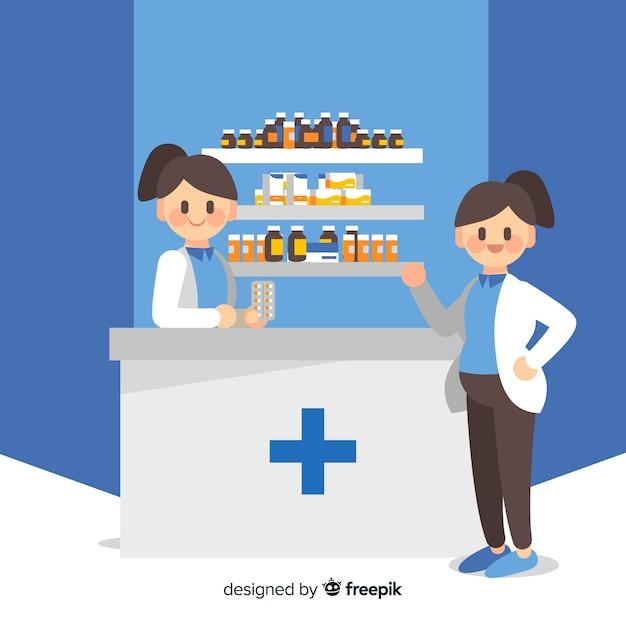 Flache art des apothekenkonzept-hintergrundes Kostenlosen Vektoren