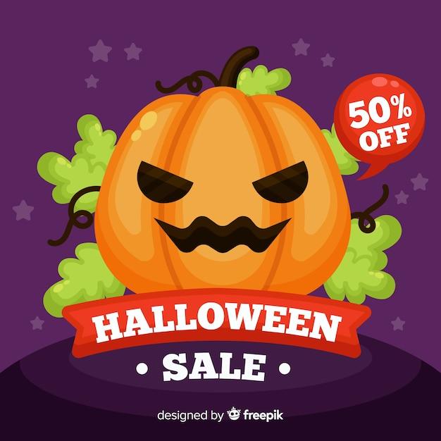 Flache art des halloween-verkaufshintergrundes Kostenlosen Vektoren