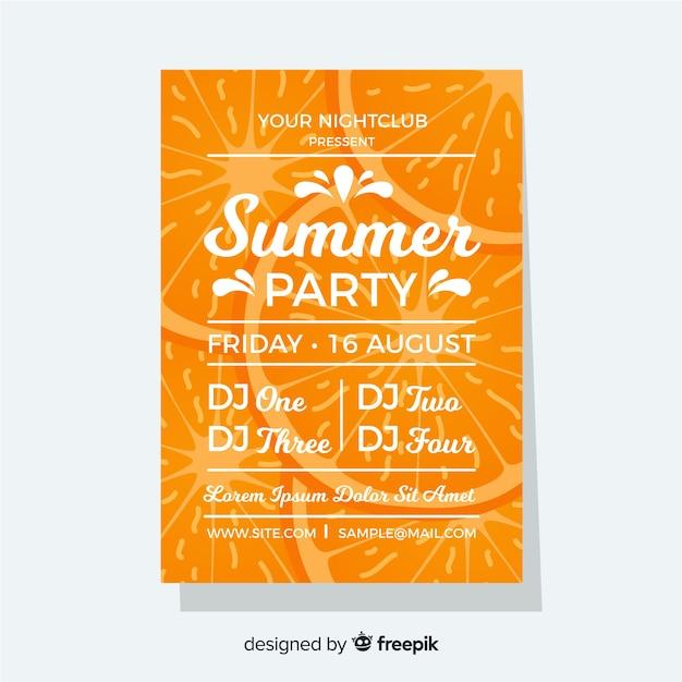 Flache art des orange sommerfestival-plakats Kostenlosen Vektoren