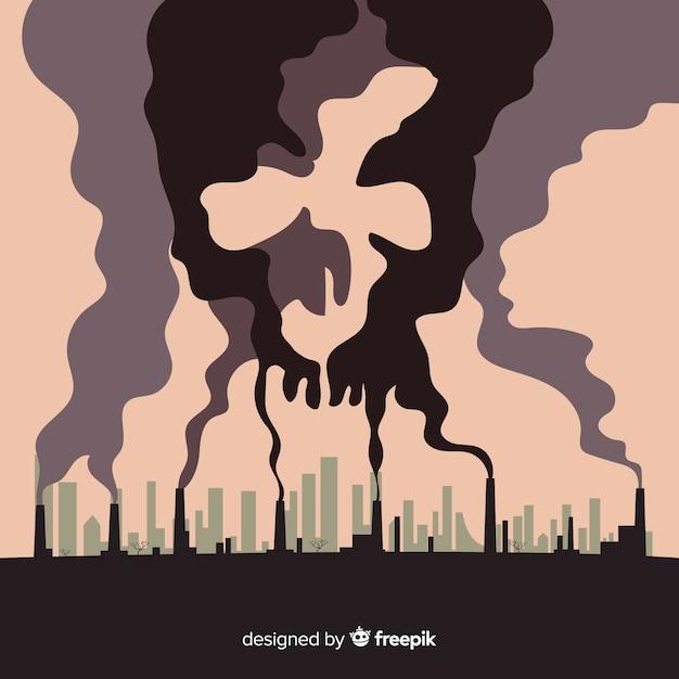 Flache art des verschmutzungskonzept-hintergrundes Kostenlosen Vektoren