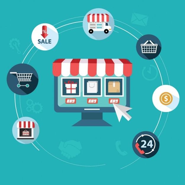 Flache artikel über online-shops Kostenlosen Vektoren