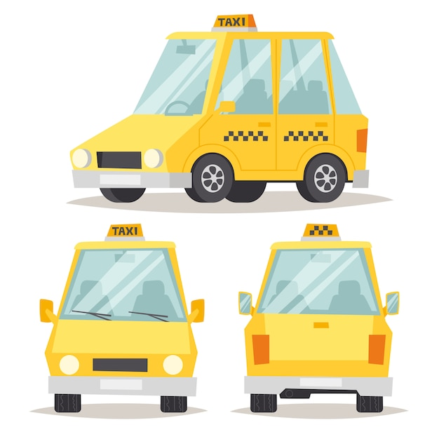 Flache artillustration des gelben autos des taxis. Premium Vektoren