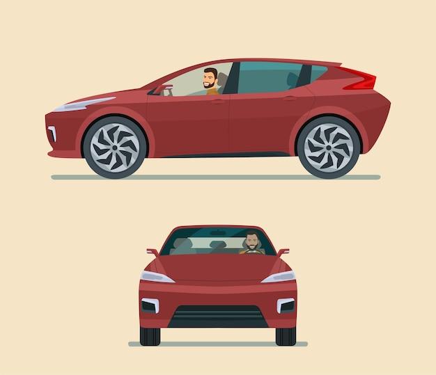 Flache artillustration des modernen elektroautowinkelsatzes Premium Vektoren