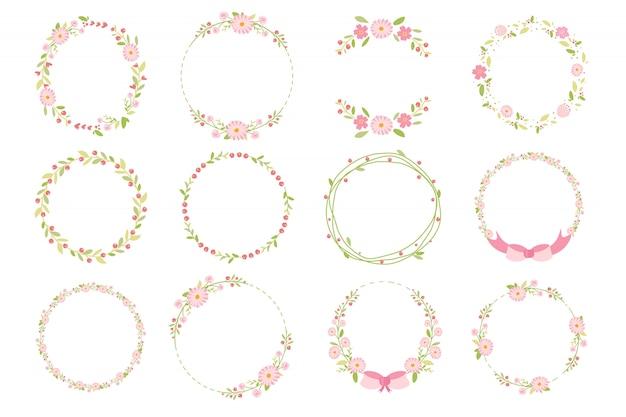Flache artkollektion des rosa pastellgänseblümchenfrühlingskranzgekritzels Premium Vektoren