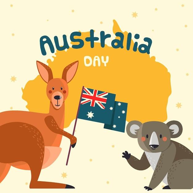 Flache australien-tagesillustration Kostenlosen Vektoren